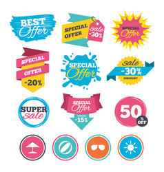 beach holidays icons umbrella and sunglasses vector image