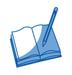 Open book pencil write school image vector