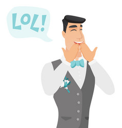 Young caucasian groom laughing out loud vector
