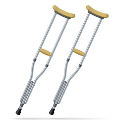 Crutches medical realistic objects treatment and vector