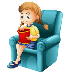 A girl eating junkfoods while sitting down vector