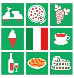 Collection of icons about italy flag food vehicle vector