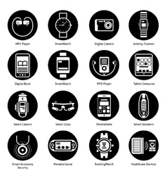 Wearable technology icons black vector