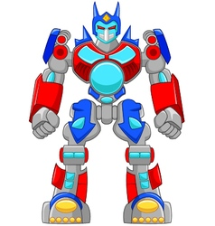 Cartoon strong robot and colorful vector