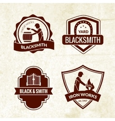 Blacksmith emblems set vector