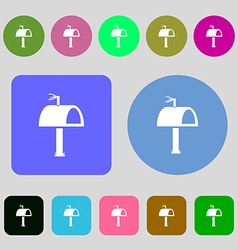 Mailbox icon sign 12 colored buttons flat design vector