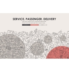 Delivery doodle website template design vector