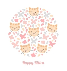 Face cut cat in a circle design vector