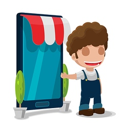 Man owner smart phone shop vector