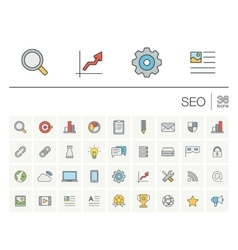 Seo and market analytics color icons vector