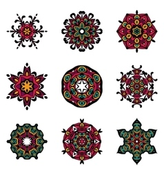set of abstract damask ornamental designs vector image