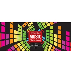 Music free trial 1500x600 pixel banner vector