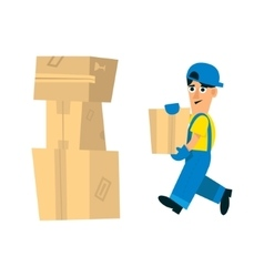 Worker making pile of carton boxes vector