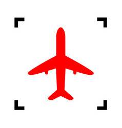Airplane sign red icon vector