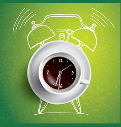 Alarm clock and coffee concept with vector