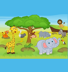 Animals in safari vector
