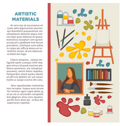artist painting tools and artistic materials vector image vector image