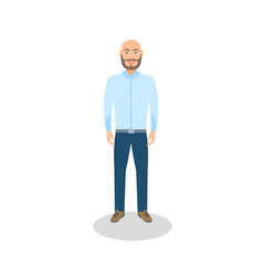 Bald man casual dressed vector