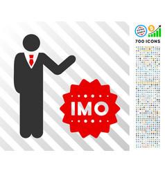 Businessman show imo token flat icon with bonus vector