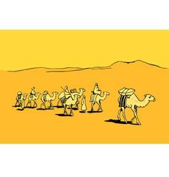 Camel caravan in the desert vector image