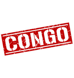 Congo red square stamp vector