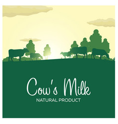 Cows milk natural product rural landscape with vector
