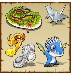 Dragon set different objects with dragon image vector image