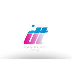 Dt d t alphabet letter combination pink blue bold vector