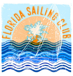 florida sailing club graphic design vector image