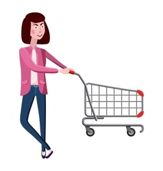 Girl with shopping cart icon cartoon style vector image