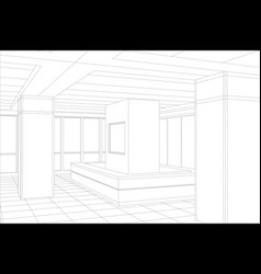 interior office outlined tracing of vector image