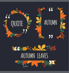 Quote blank template autumn design elements with vector