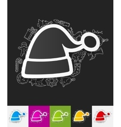 Santa hat paper sticker with hand drawn elements vector