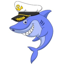 Shark captain cartoon vector image vector image