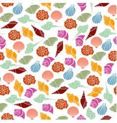 Silhouettes seamless pattern of seashells vector
