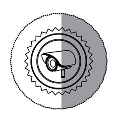 sticker of monochrome circular frame with contour vector image vector image