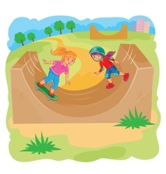 Two girls ride using rollerblades and skateboard vector