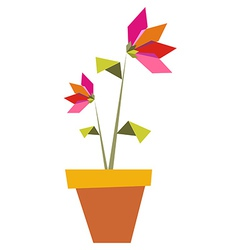Two origami vibrant colors flowers vector