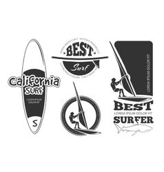 Vintage surfing labels vector