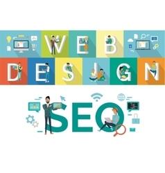 Web Design SEO Concept Flat Style Design vector image vector image