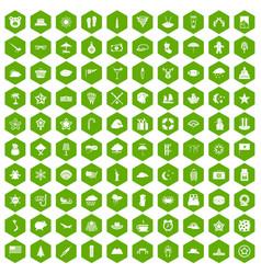 100 star icons hexagon green vector
