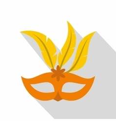 Orange carnival mask icon flat style vector