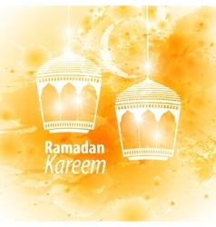 Watercolor yellow blob ramadan kareem vector