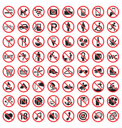 Prohibition signs icon set vector