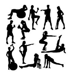 Gym exercises activity silhouettes vector