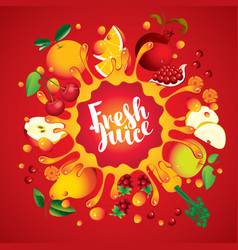 banner with fruit and splashes fresh juice vector image