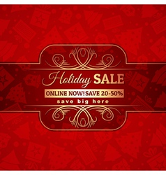 Red christmas background and label with sale offer vector