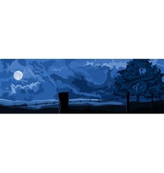 Fence with barbed wire on a moonlit night vector