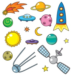 Cartoon space objects vector