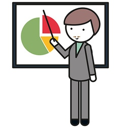 Man pointing at pie chart vector